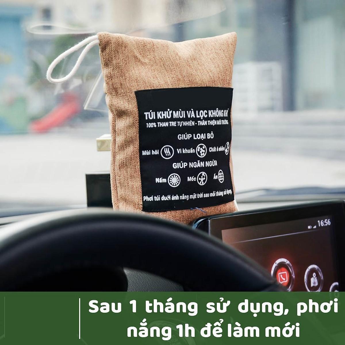 (Mua 1 Tặng 1) Combo Túi Than Hoạt Tính Khử Mùi Hôi, Ẩm Mốc, Vi Khuẩn, Mùi Nội Thất Ô Tô Tặng Kèm Móc Treo Ô Tô Tiện Lợi