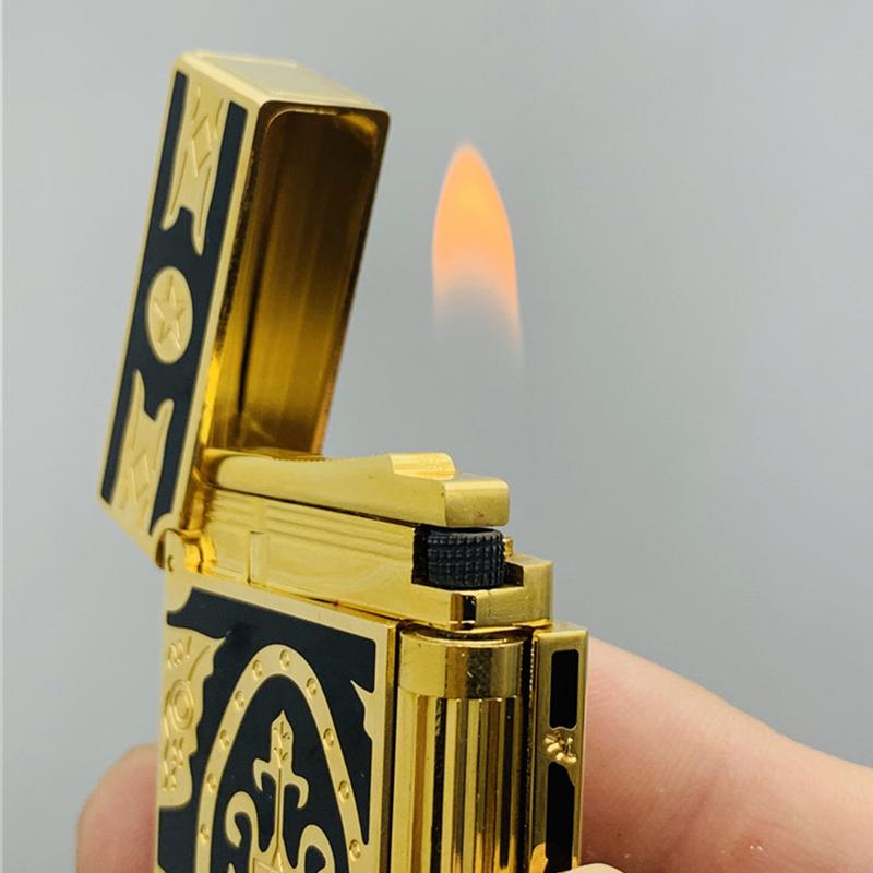 Hộp Quẹt Bật Lửa Gas Đá D08V Họa Tiết Hoa Văn Cách Điệu Hoàng Gia Màu Vàng Đen