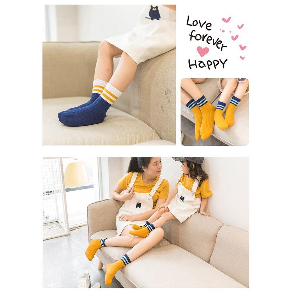 Set 5 đôi tất len cổ sọc cho bé từ 4 - 6 tuổi kèm túi xinh xắn, tất cao cổ kiểu Hàn Quốc cho bé