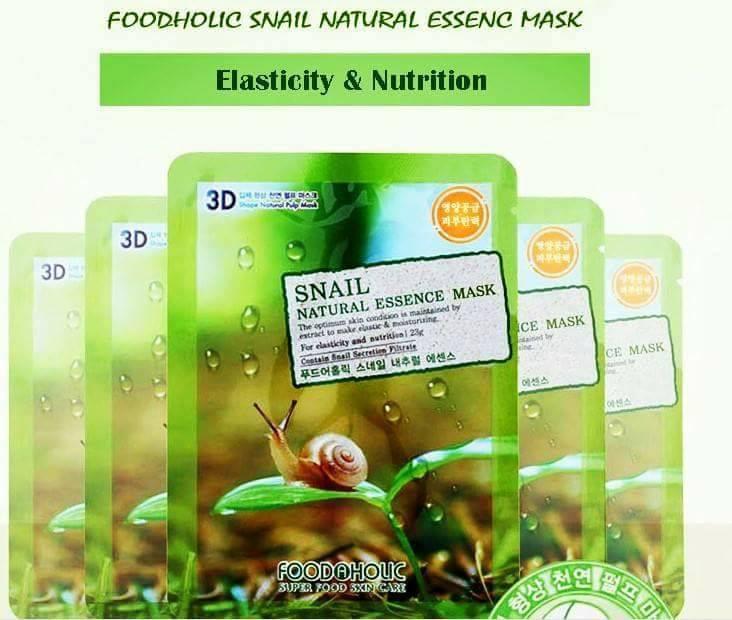 Bộ 10 Gói Mặt Nạ Làm Mờ Vết Nhăn Hiệu Quả 3D Foodaholic Snail Natural Essence Mask 23ml x10