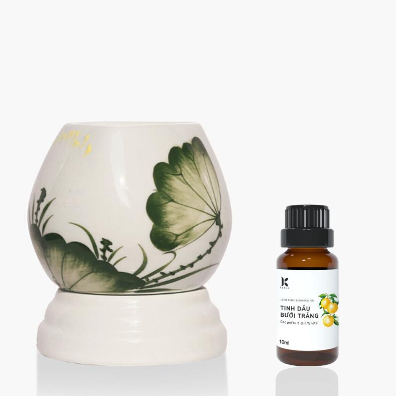 Đèn xông tinh dầu MD026 Kepha + Tặng 1 lọ tinh dầu bưởi 10ml Nguyên chất 100%, nhập khẩu trực tiếp Tây Ban Nha - Giúp làm đẹp, kích thích tóc mọc, giảm tóc rụng - Khử mùi, thư giãn, giảm stress, giúp sạch không khí