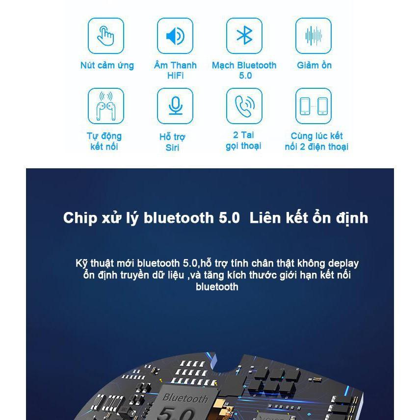 Tai nghe bluetooth không dây I12 TWS công nghệ 5.0 cảm ứng chạm cực nhạy hàng nhập khẩu
