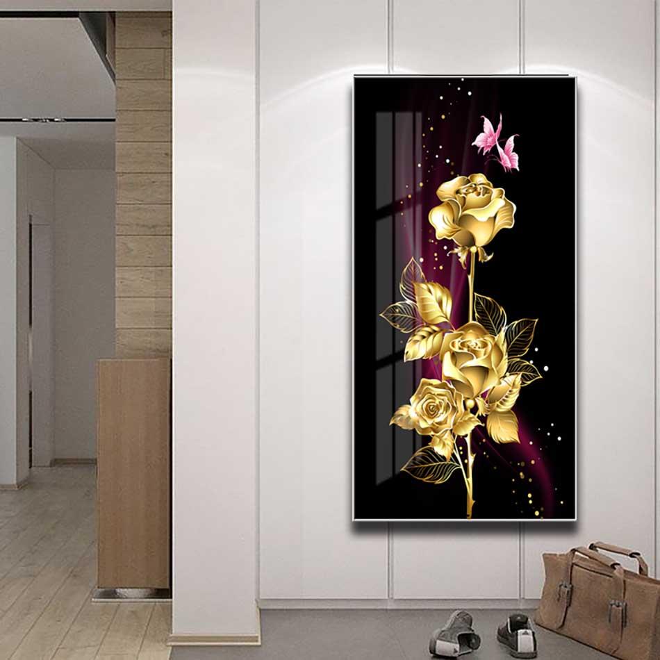 Tranh mica cao cấp Hoa hồng vàng kim - MK003