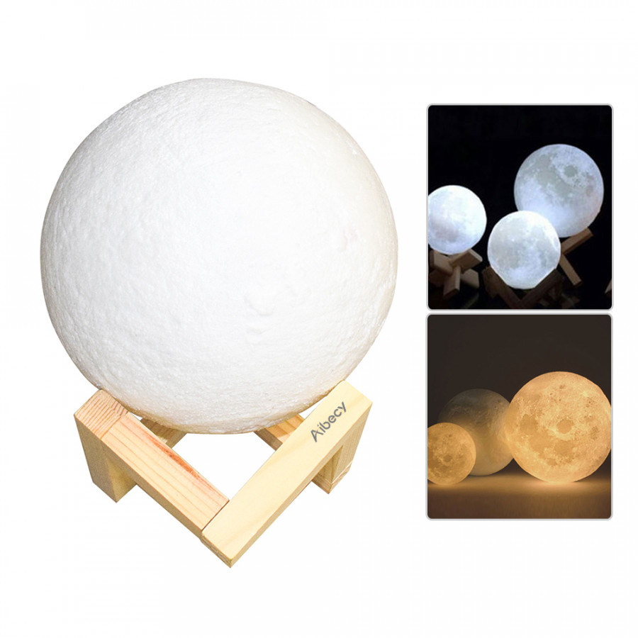 Aibecy 8cm 3.15 Inch Moon Lamp USB Rechargeable LED 3D Printed PLA Night Light Home Decorative Lights Touch Control Diameter 8cm