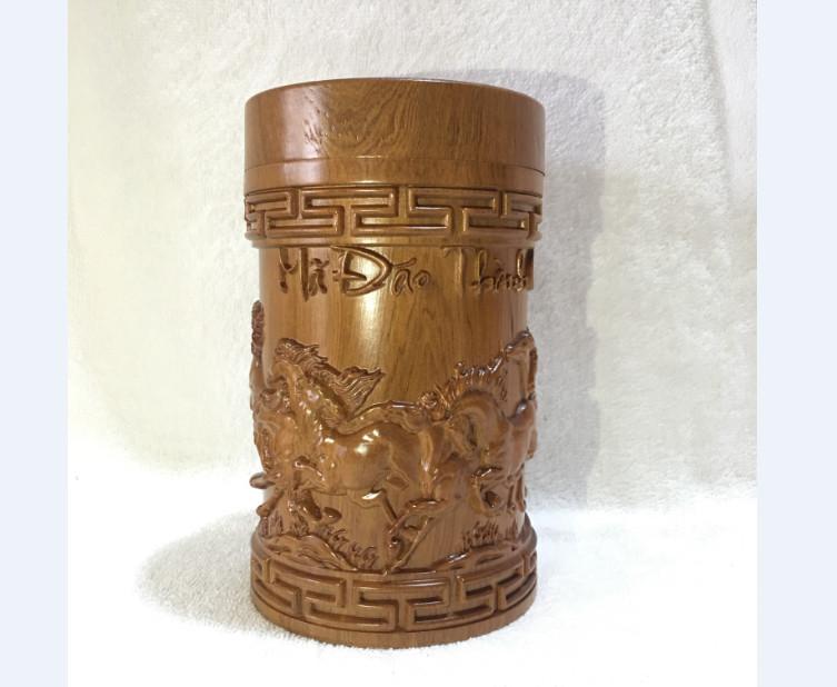 Hộp đựng trà - hộp đựng chè cao cấp gỗ bách xanh nguyên khối đục chạm mã đáo thành công - loại to cao