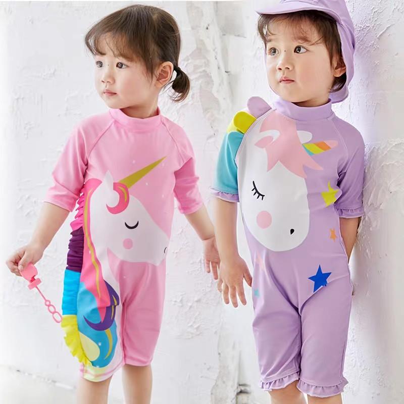 Đồ bơi cho bé gái liền thân ngựa Pony tím hot trend kèm mũ chống nắng 1-7 tuổi - Misolbooks