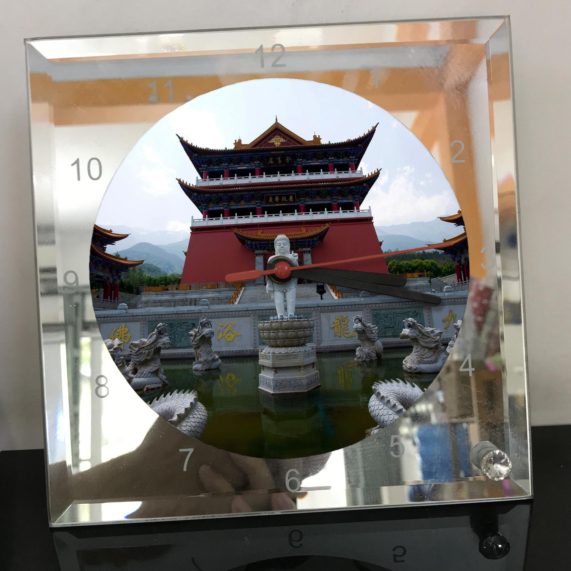 Đồng hồ thủy tinh vuông 20x20 in hình Temple - đền thờ (47) . Đồng hồ thủy tinh để bàn trang trí đẹp chủ đề tôn giáo