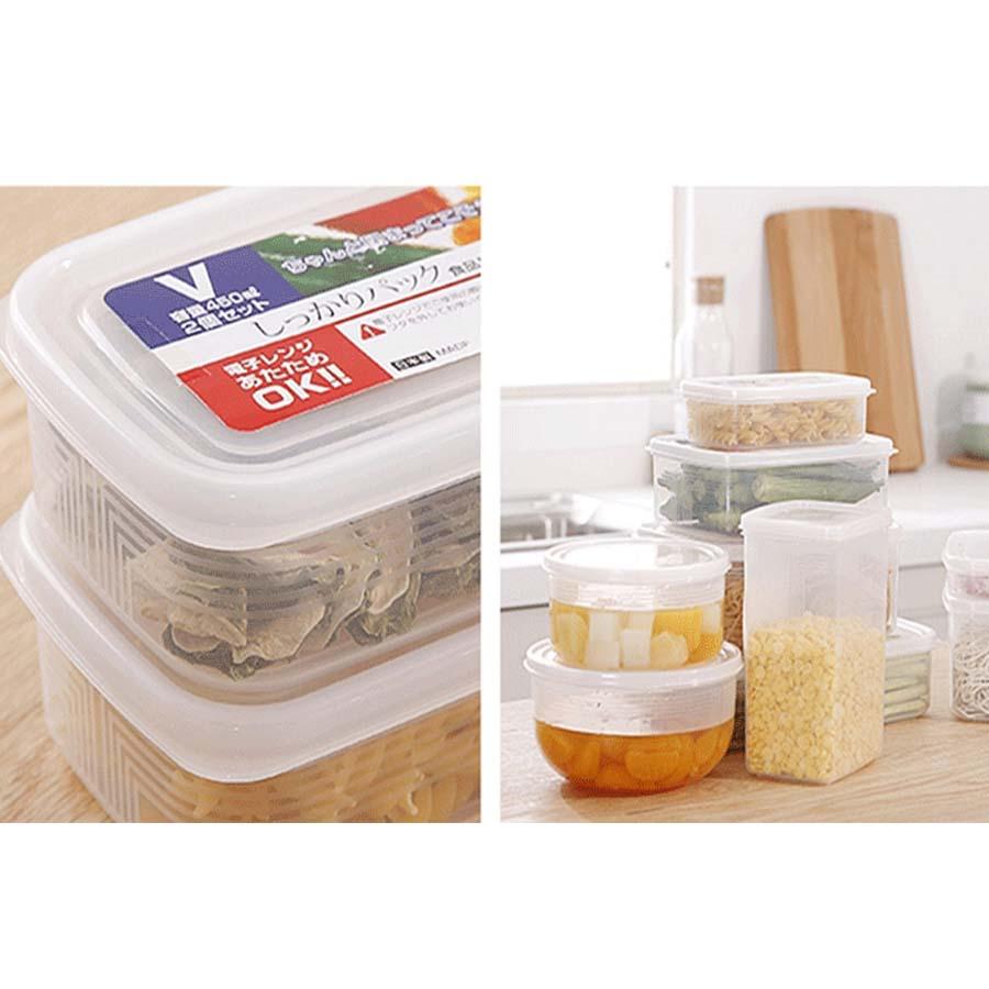 Bộ 2  hộp đựng thực phẩm, đồ khô cho gia đình  nhựa từ PP cao cấp không chứa chất gây hại 2L - Nội địa Nhật Bản