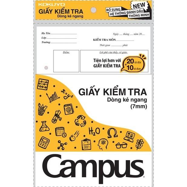 Combo 5 tập Giấy kiểm tra kẻ ngang Campus 20 tờ đôi 10 tờ đơn