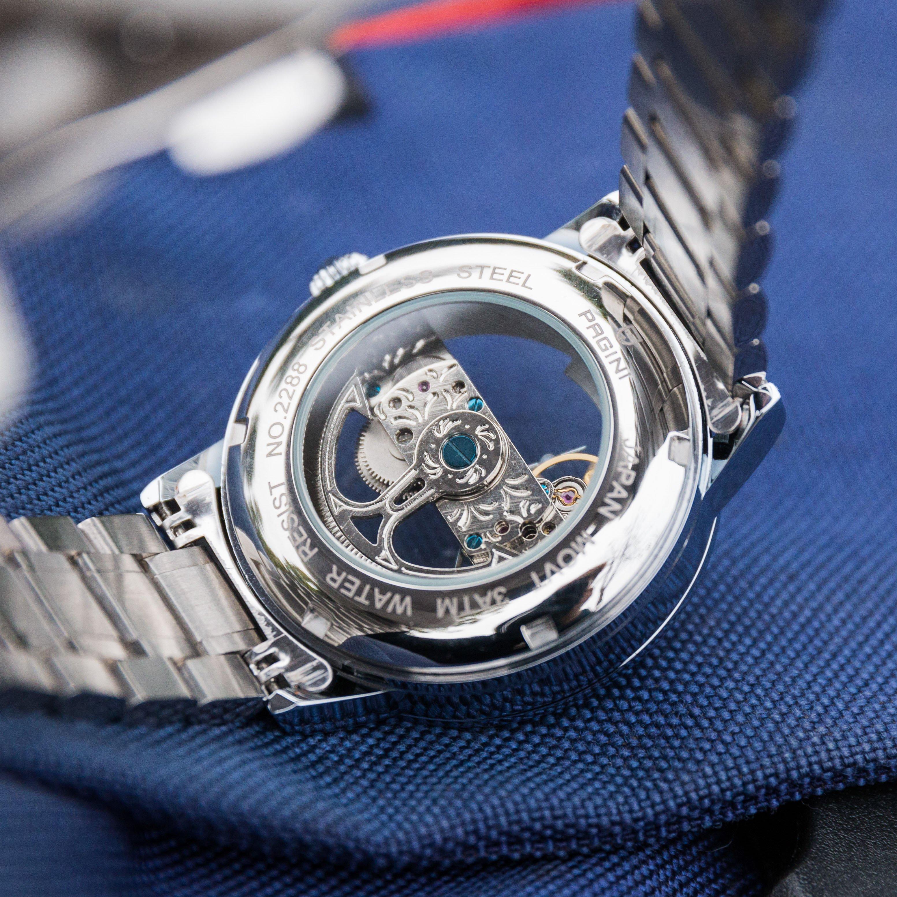 Đồng hồ cơ nam PAGINI PA2288 lộ máy cao cấp dây thép đúc – Phong cách sang trọng, lịch lãm, thời thượng SIÊU KHỦNG