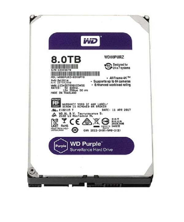 Ổ Cứng HDD Western Digital 8TB 3.5 Sata 3 128MP WD81PURZ - Hàng Chính Hãng
