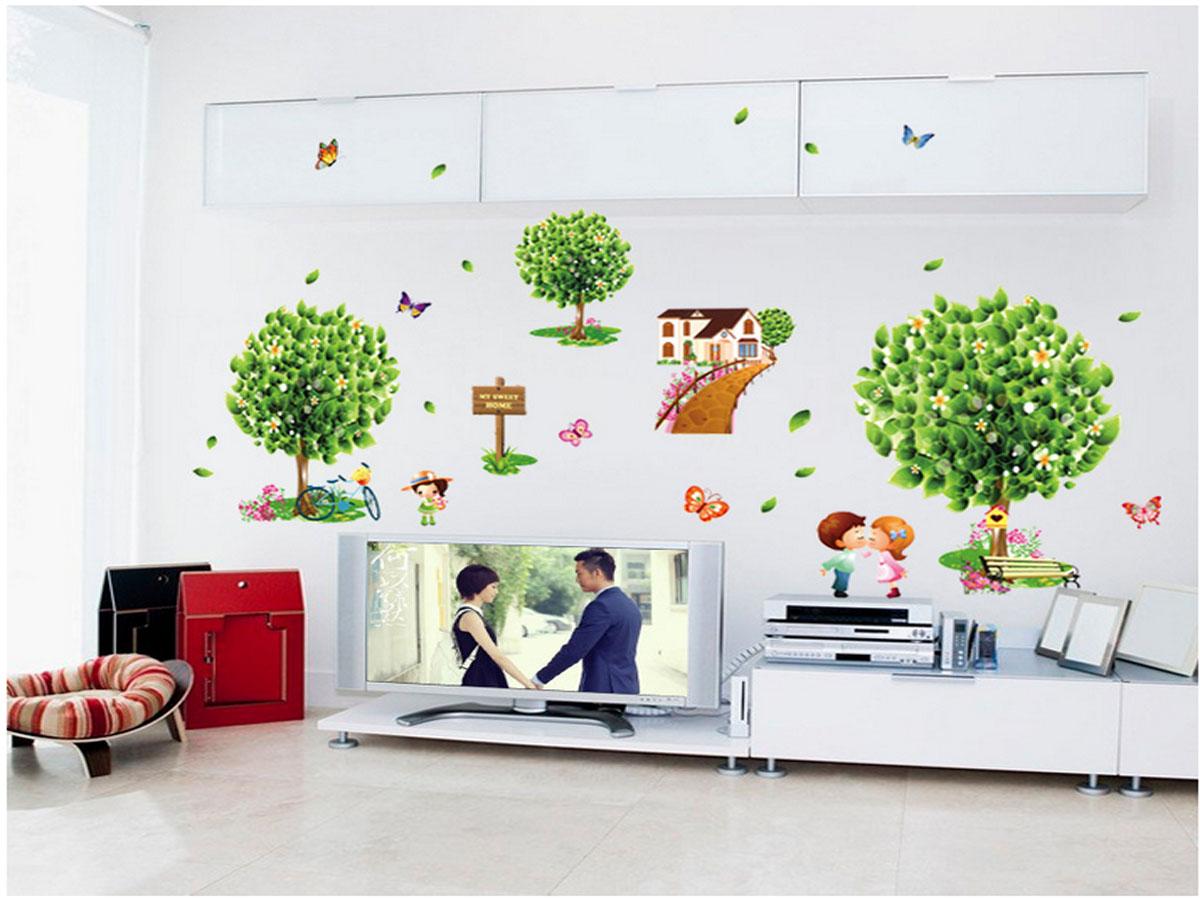 Decal dán tường nhà ba cây hoa xanh ay7272