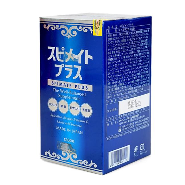 Tảo Spirulina Spimate Plus 1200 viên bổ sung vitamin, rau xanh - Nội địa Nhật Bản