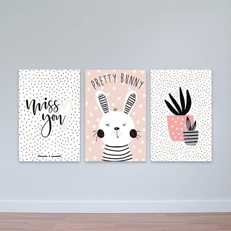 """Bộ 3 tranh Scandinavian """"Chú thỏ trắng dễ thương"""" W2245 Canvas có viền"""