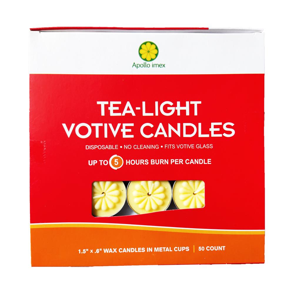 Nến tealight 50 viên màu vàng không mùi dày 1.5cm cháy từ 4h-5h | Bio Aroma