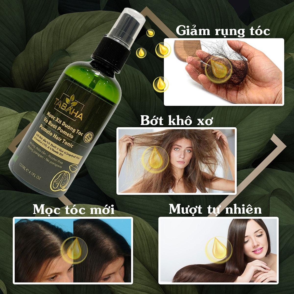 Nước dưỡng tóc tinh dầu bưởi Pomelo Tabaha 120ml giảm rụng tóc, kích thích mọc tóc con