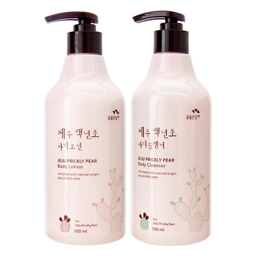 Bộ Sữa Tắm Dưỡng Thể Cosmocos Flor De Man Jeju Prickly Pear Tinh Chất Xương Rồng Gai + Bông Tắm Hàn Quốc