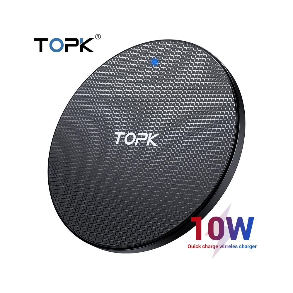 Đê sạc không dây nhanh 10W nhỏ gọn cho Samsung, Iphone, Meizu, XIaomi, Oppo TOPK B01W - Kèm cáp sạc - Đen - Hàng chính hãng