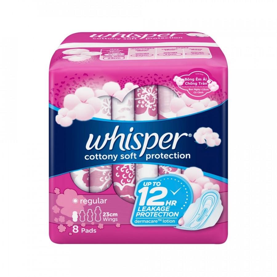 Băng Vệ Sinh Whisper Cotton Cánh Thường 23cm (8 miếng)