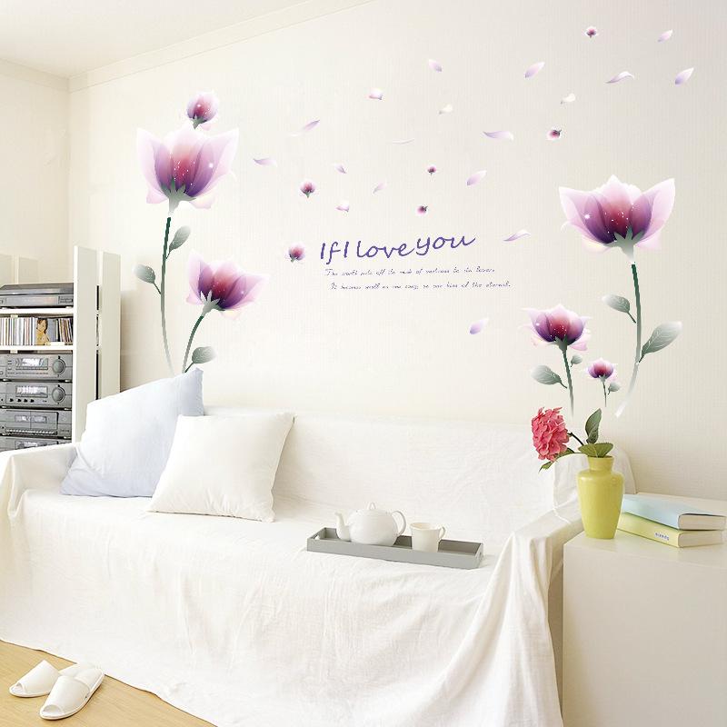 Decal dán tường Hoa hồng cánh bướm tím AmyShop DH091