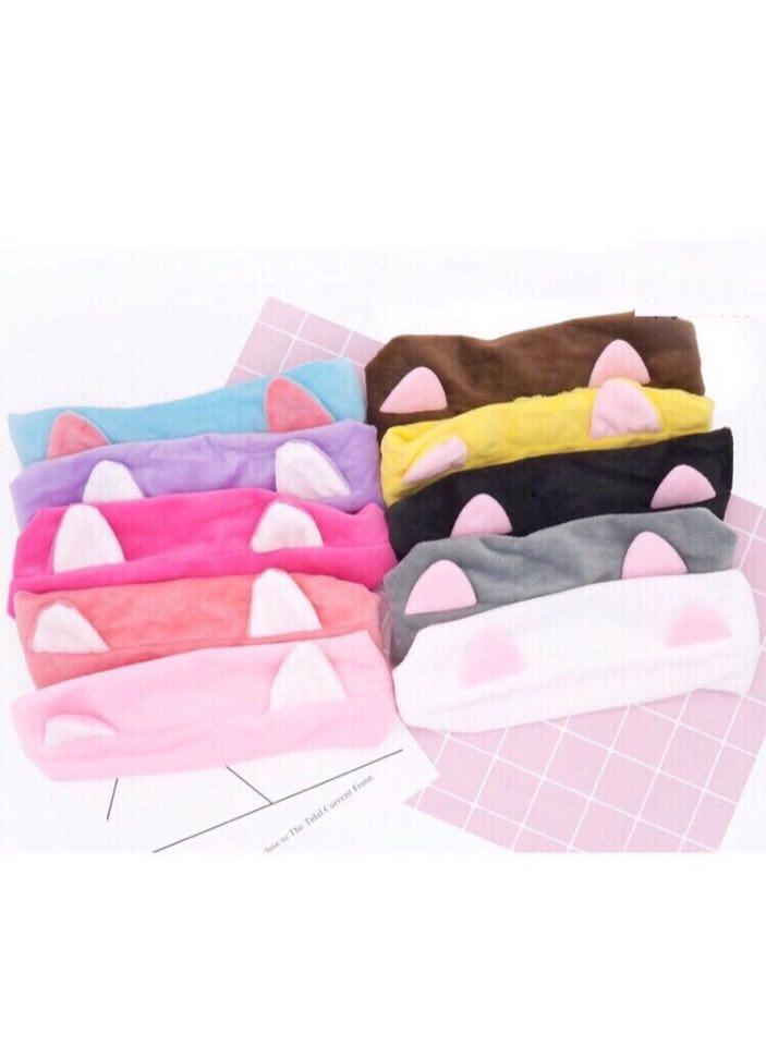 Băng đô bông -băng đô đa năng - băng đô tai mèo hồng phấn.