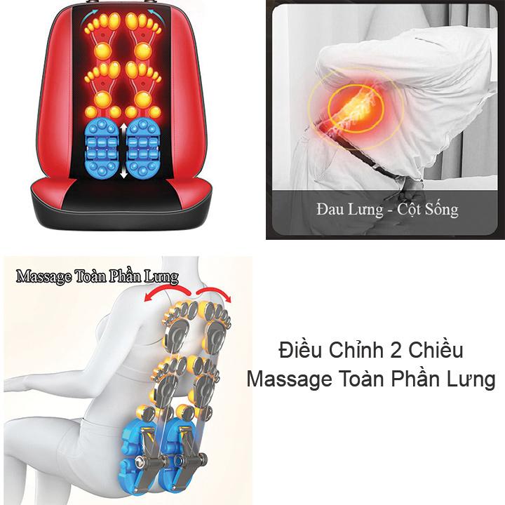 Ghế Đệm Massage Cổ Lưng Vai Gáy Le er Kang LEK-918L35 con lăn 3D