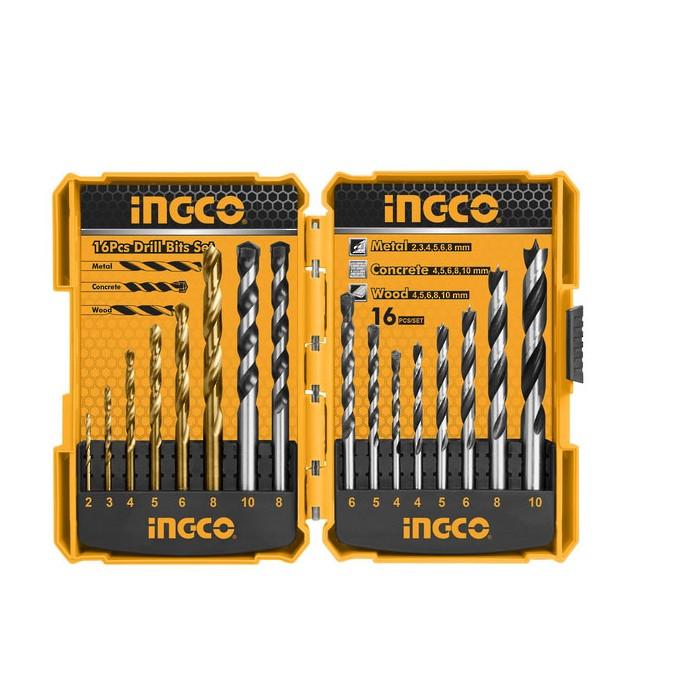 Bộ 16 mũi khoan kim loại, bê tông và gỗ INGCO AKD9165