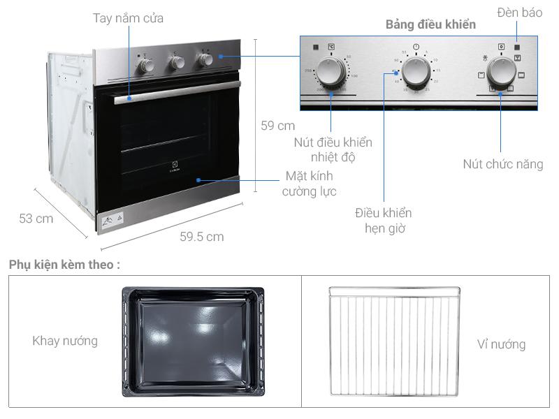 Lò Nướng Âm tủ cao cấp Electrolux EOB2100COX - Hàng nhập khẩu