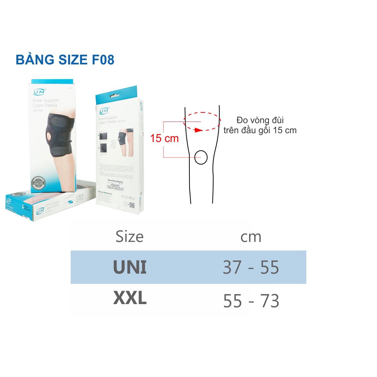 Bó gối đai dán không nẹp drytex UM (F08), size UNI