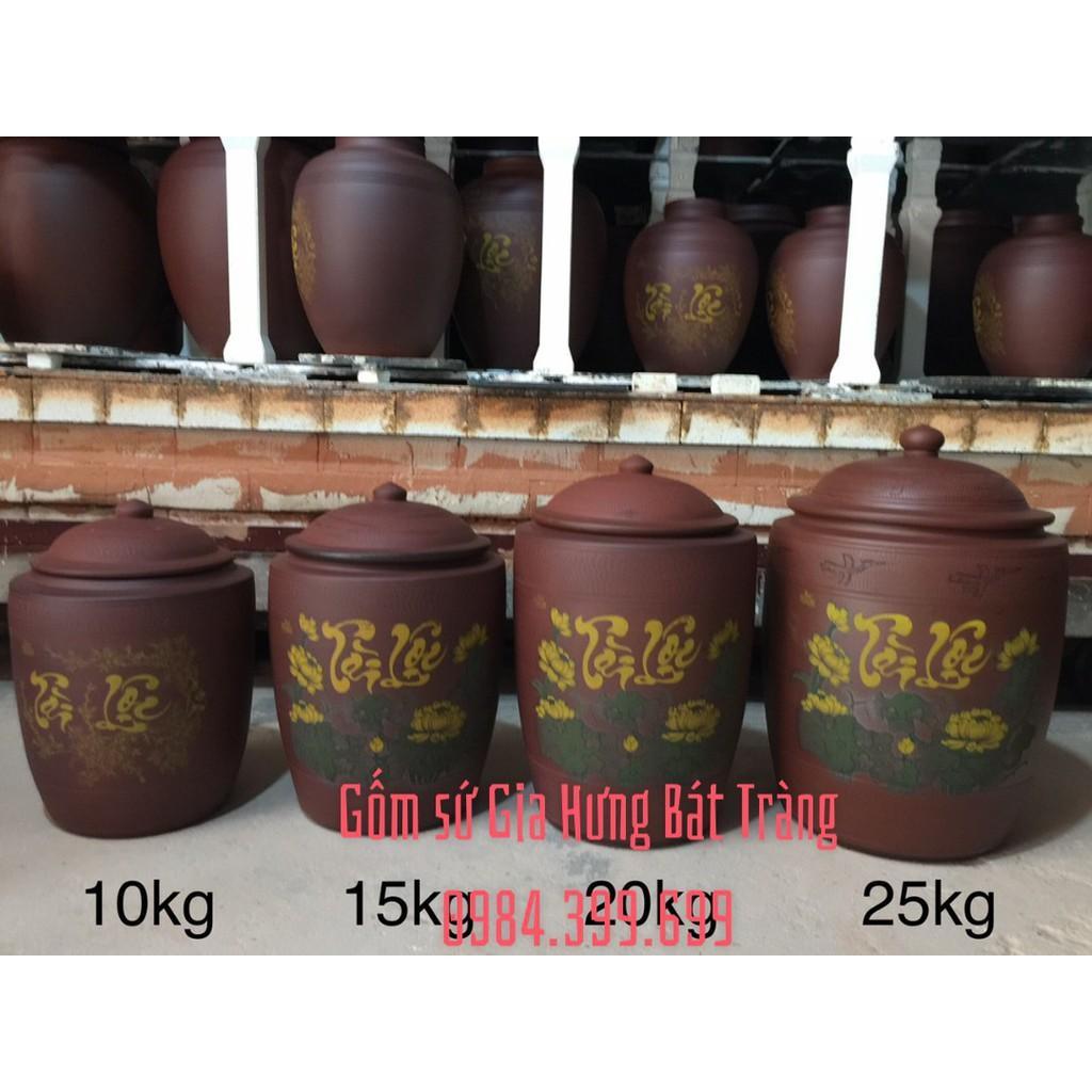 Hũ sành đựng gạo vẽ sen 10kg gốm Gia Hưng Bát Tràng