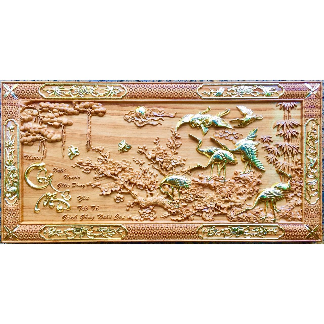 Tranh gỗ gõ đổ điêu khắc Tùng Hạc - TG235