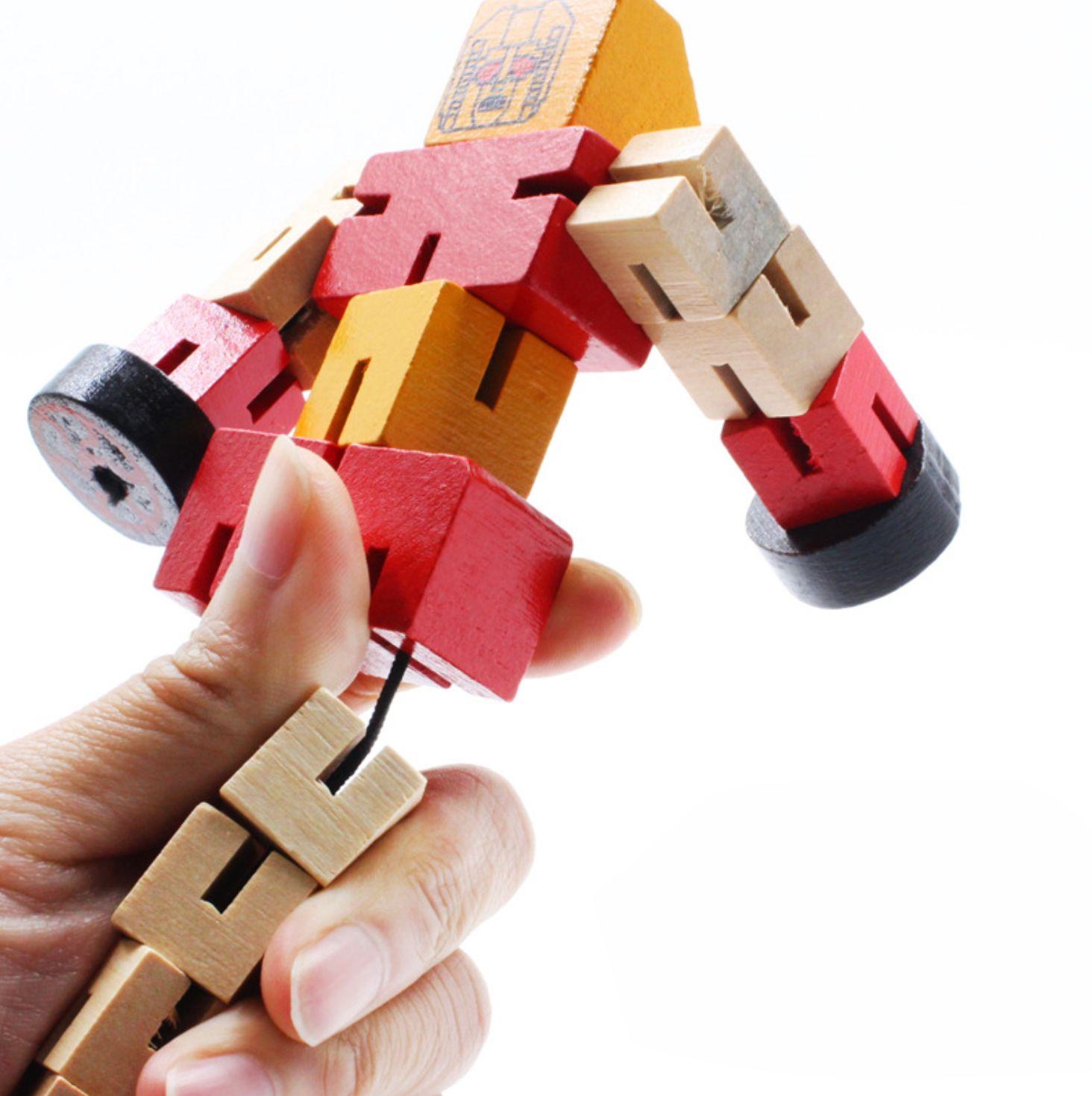 Đồ chơi rô bốt ghép hình bằng gỗ cho bé
