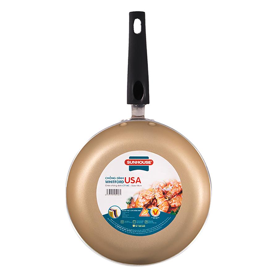 Bộ Đôi Hoàn Hảo - Chảo Siêu Chống Dính Sunhouse (24 -18 cm) - Màu Sampanh
