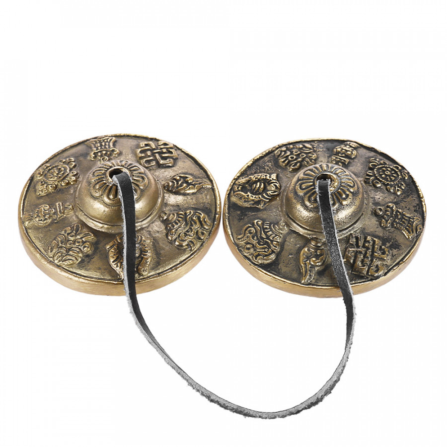 2.6in6.5cm Handcrafted Tibetan Meditation Tingsha Cymbal Bell with Buddhist The Eight Auspicious Symbols Eight Auspicious Symbols