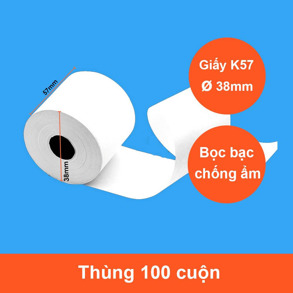 100 Cuộn Giấy In Hóa Đơn K57 Phi 38 Cho Máy In Nhiệt