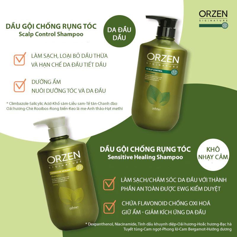 Dầu gội Orzen kích thích tăng cường sinh trưởng tóc - Da khô/Da nhạy cảm Hàn Quốc 500ml tặng kèm móc khoá