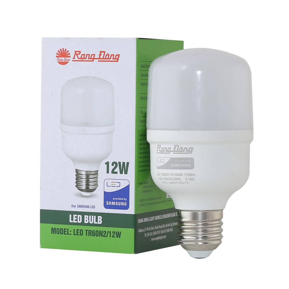 Bóng đèn LED BULB trụ 12W Rạng Đông, chip LED Samsung ( LED TR60N2/12W)