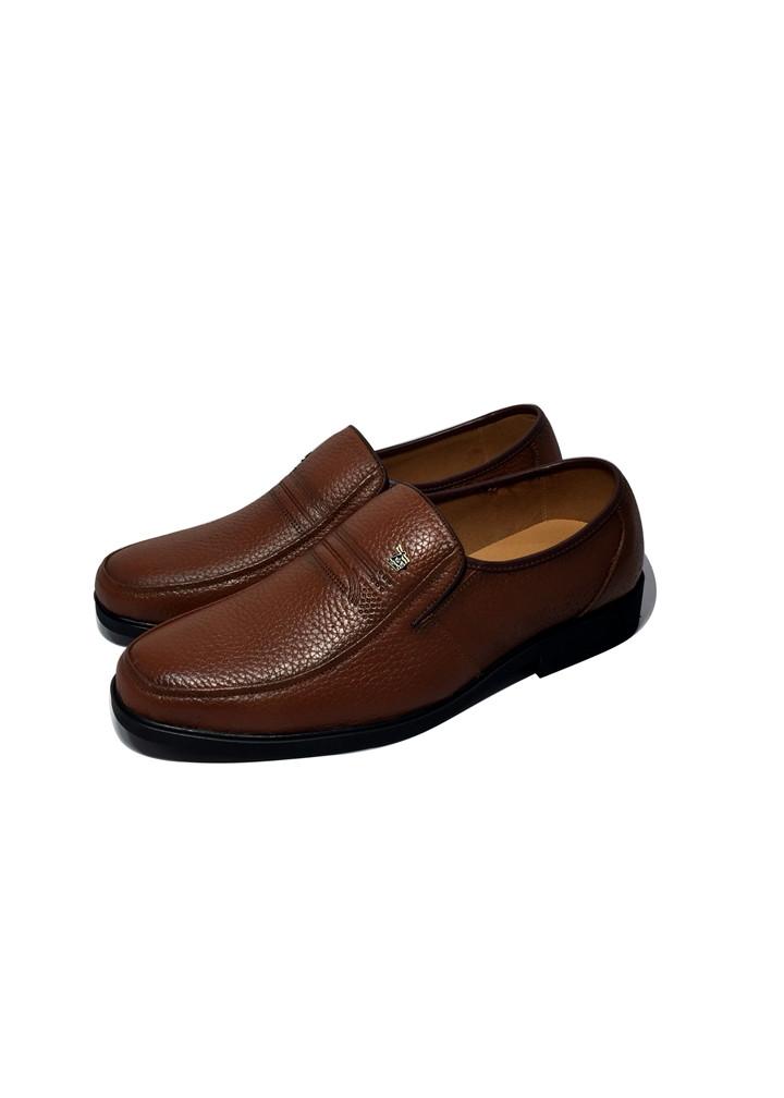 Giày lười nam da bò thật Happyshoes, đế khâu chất liệu cao su ép nhiệt chắc chắn có rãnh chống trượt an toàn -HS66
