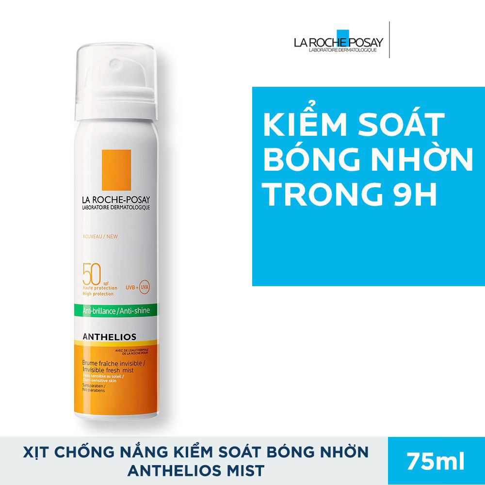 Xịt Chống Nắng Kiểm Soát Bóng Nhờn Và Bảo Vệ Da La Roche Posay Anthelios Anti Shine Invisible Fresh Mist Spf50 Uvb + Uva Sun Sensitive Skin 75ml