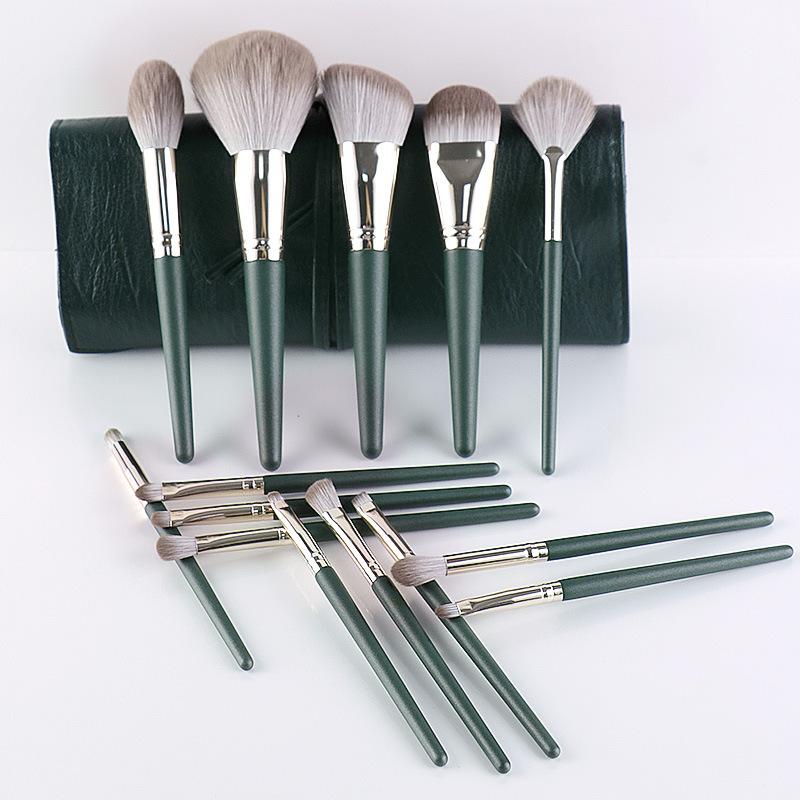 Bộ Cọ Makeup 14 Cây Cán Xanh Cao Cấp Lông Siêu Mịn Tiện Dụng Đầy Đủ Chức Năng Trang Điểm Cá Nhân Hiệu Quả
