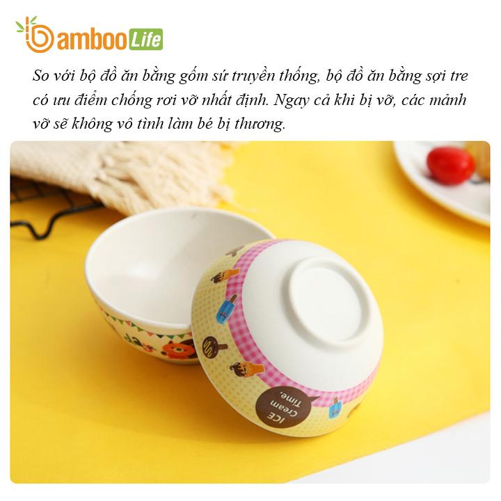 Chén bát ăn cho bé Bamboo Life BL7065 hàng chính hãng làm từ sợi tre thiên nhiên Chén bát ăn dặm cho bé Dụng cụ ăn dặm Đồ dùng ăn dặm cho bé