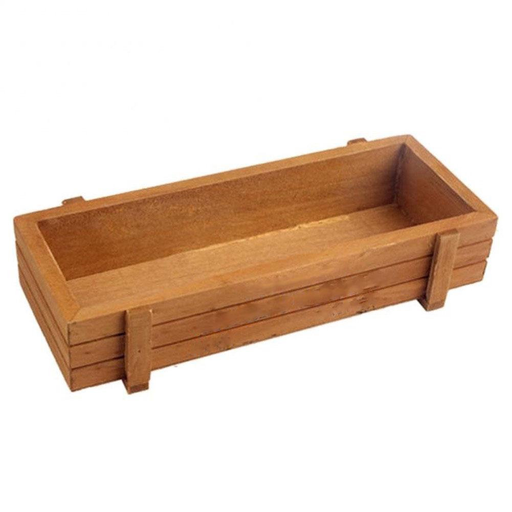 Chậu gỗ trồng cây mini hình chữ nhật 23.5x8.5x6 cm dành cho dân văn phòng, trang trí bàn làm việc, trồng cây trên cửa sổ, phòng khách, bàn làm việc, làm quà tặng