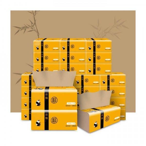 Giấy ăn gấu trúc siêu dai, an toàn khi sử dụng, giấy ăn sợi tre an toàn không chất tẩy trắng (Thùng 30 gói)