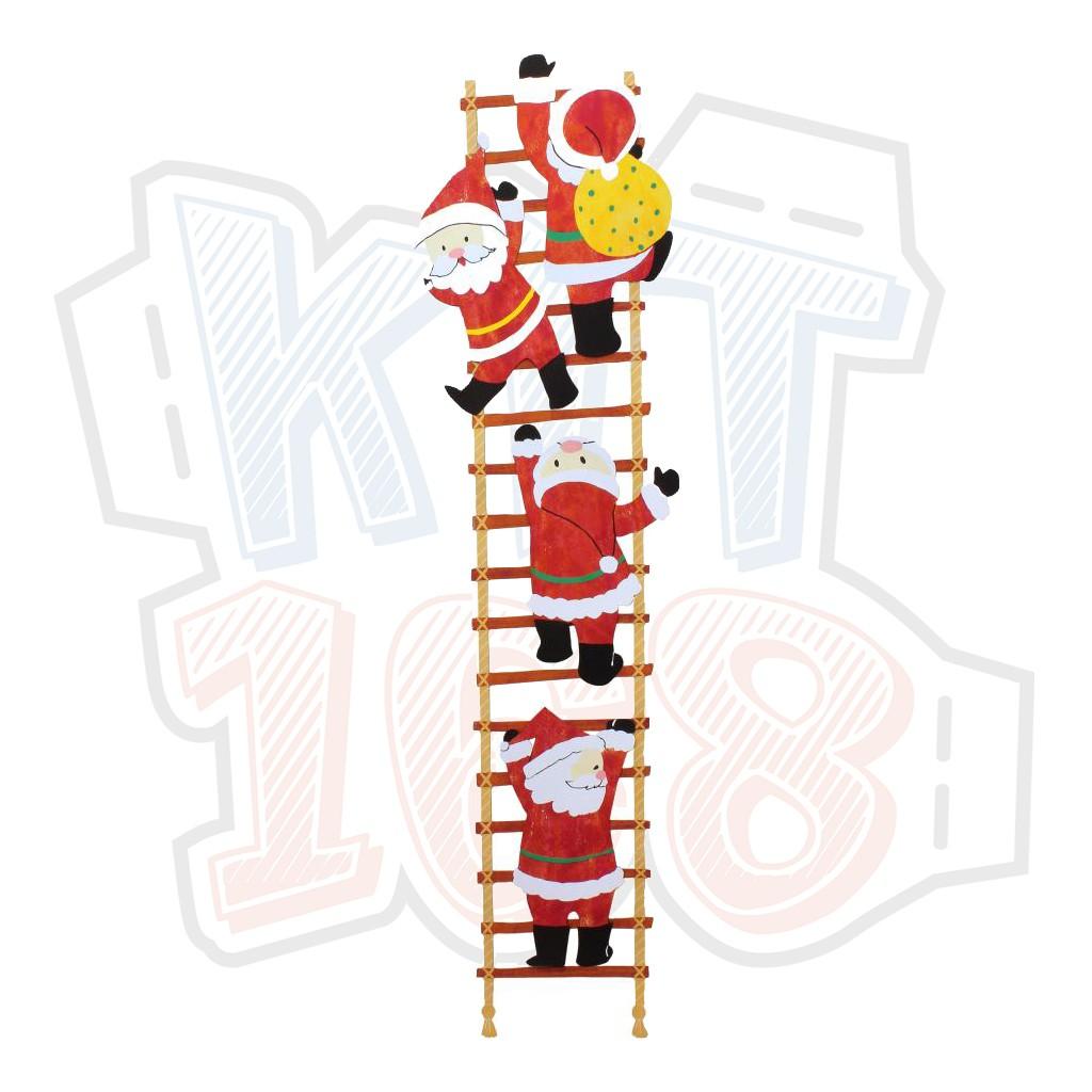 Mô hình giấy Giáng Sinh Noel ông già Chrismas Santa Claus Climbing a Ladder