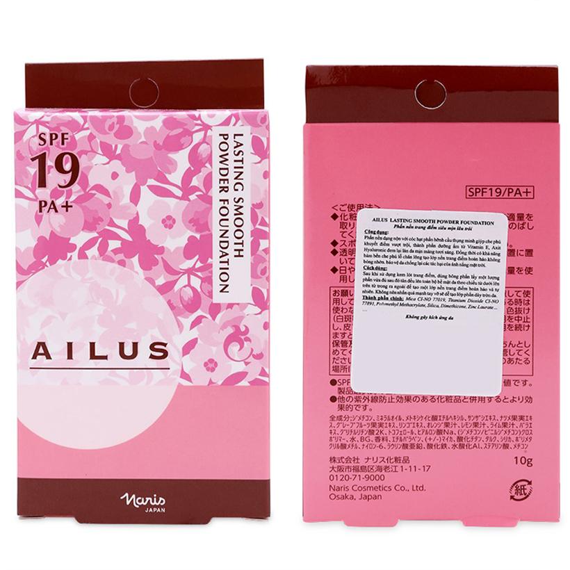 Phấn nền mỏng mịn lâu trôi Ailus Lasting Smooth Powder Nhật Bản 10g (#530 Tự nhiên) + Móc khóa