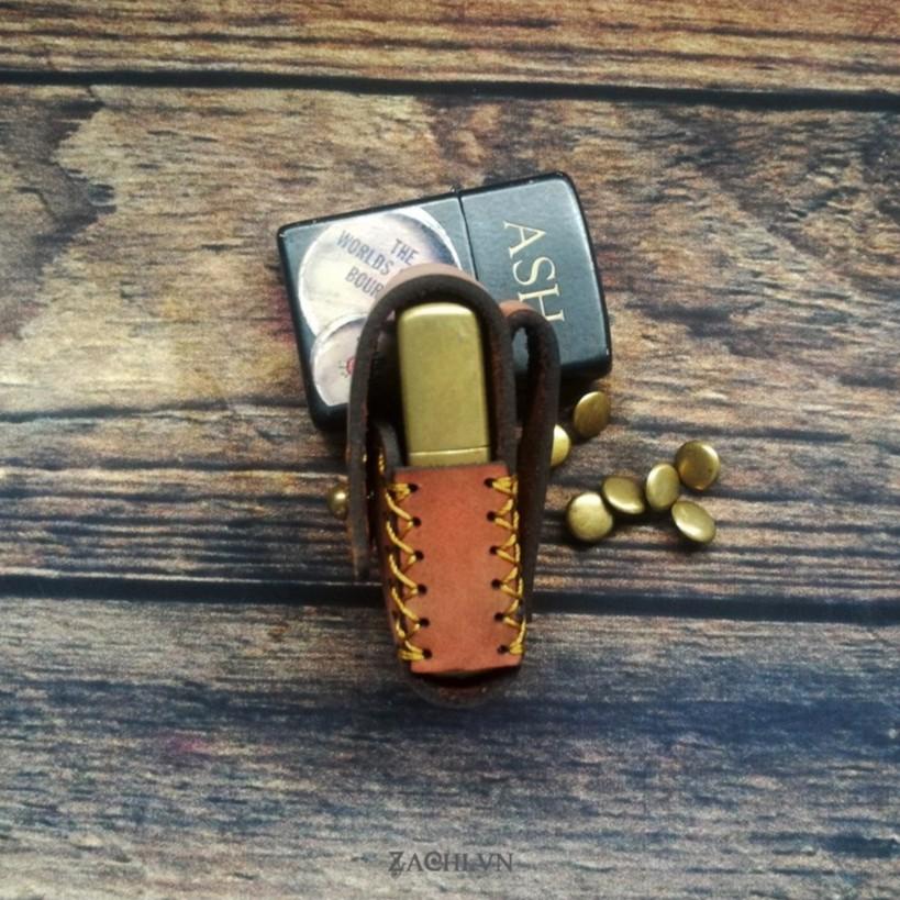 Bao da zippo da bò handmade - ZP123