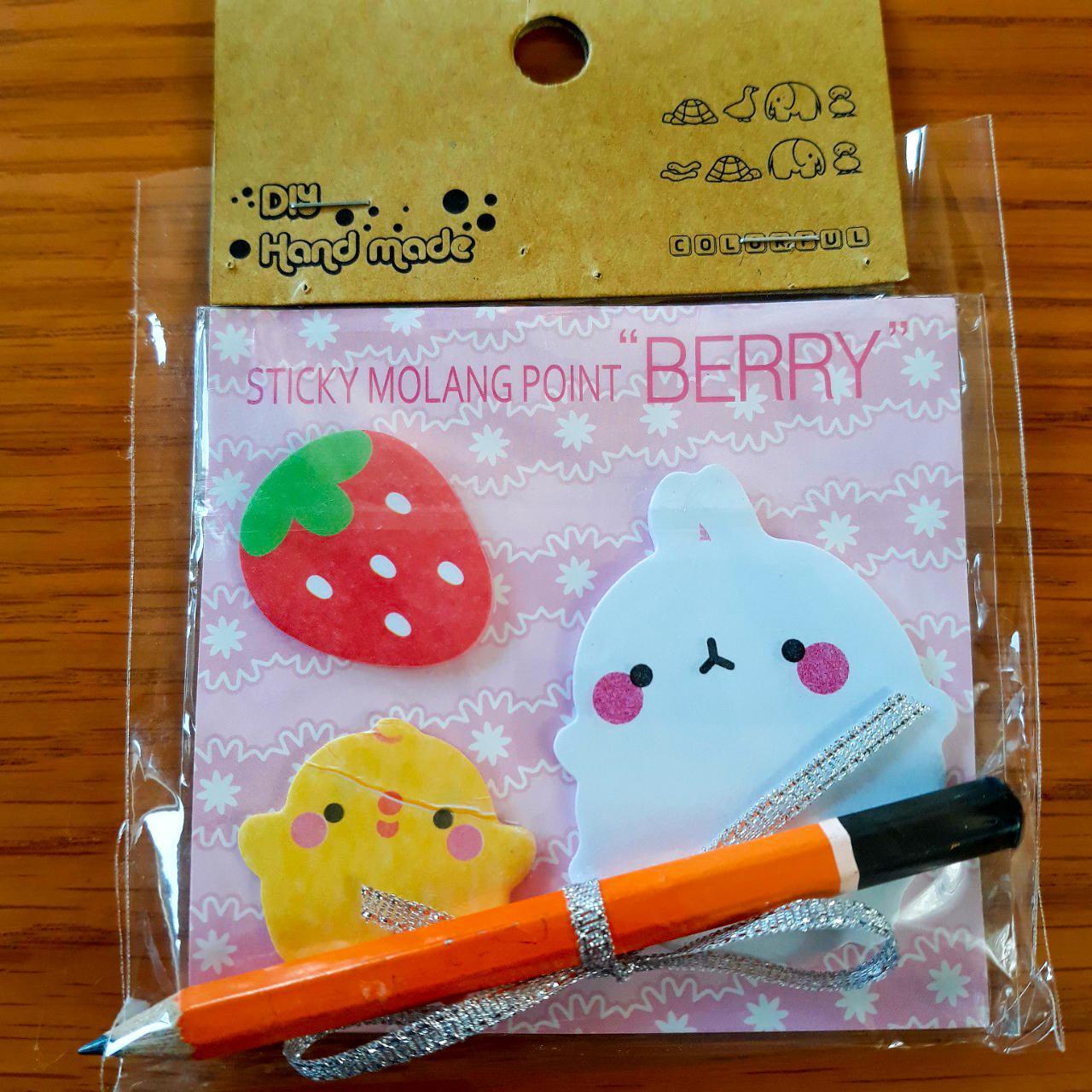 Giấy Ghi Chú Note Phân Trang Molang & Piu Piu Tặng Kèm Bút Chì - Berry