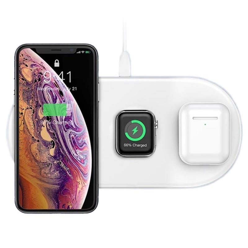 Đế sạc nhanh không dây 3 in 1 hỗ trợ sạc cho Apple Airpods  Appe Watch  Smartphone hiệu Baseus Dual Smart Wireless Charging P Công suất 18W, Wireless Quick charge, chuẩn Qi Apple - Hàng chính hãng - T
