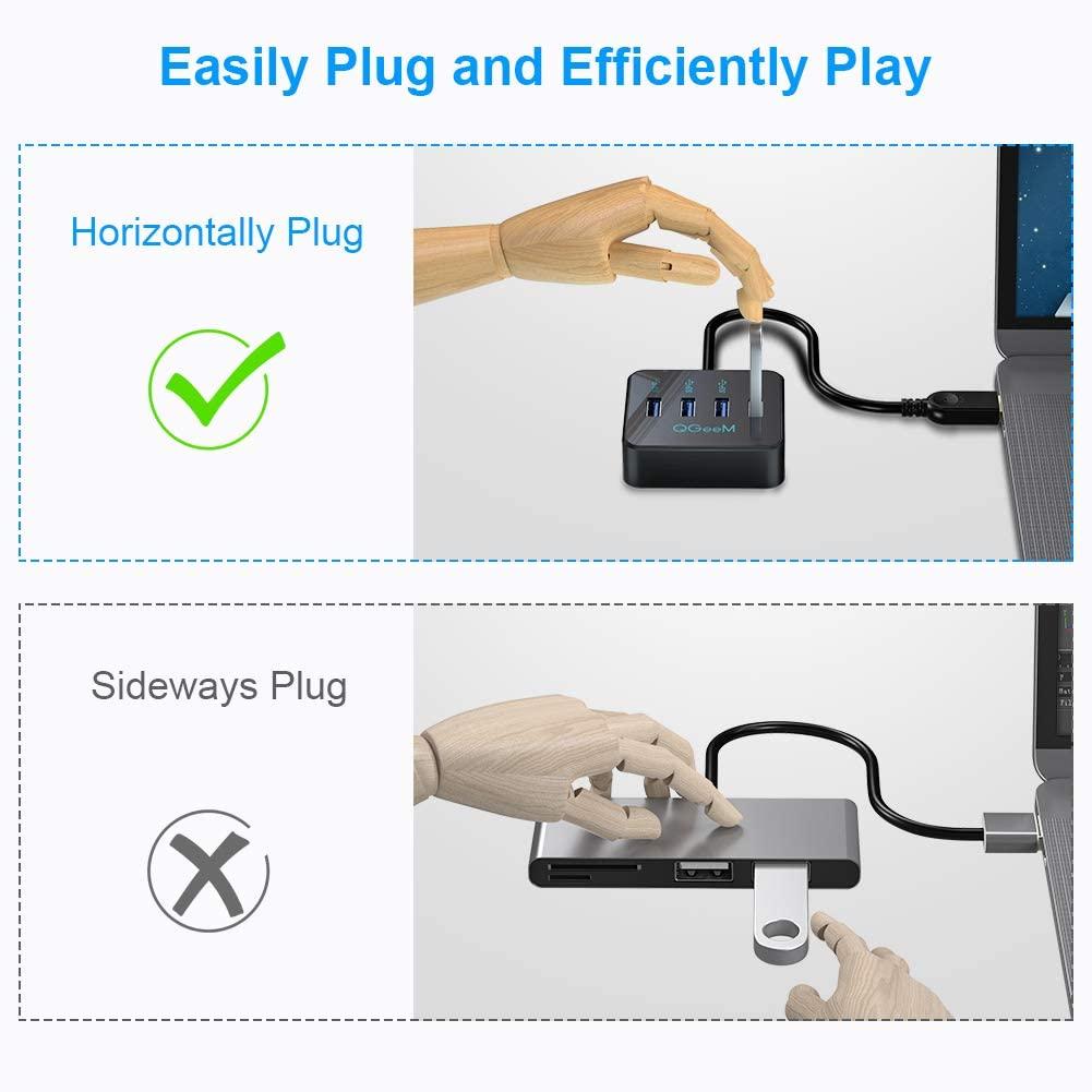 Bộ hub đa năng QGeeM chia 4 cổng USB 3.0, đen-Hàng Chính Hãng