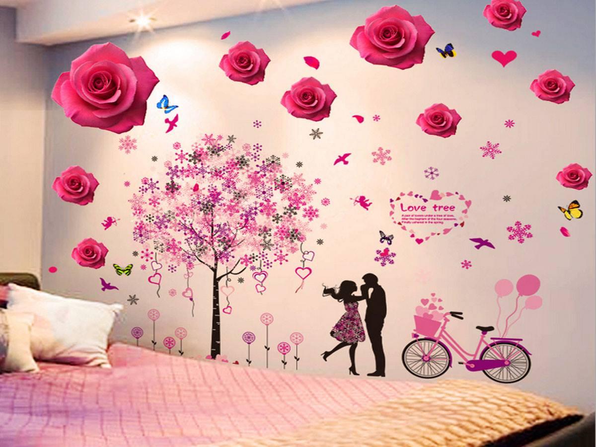 Decal dán tường Hoa hồng và cây trái tim mẫu 2 - HP380
